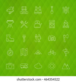 Family Camping Line Icons. Vector Illustration of Hiking Symbols over Polygonal Background.