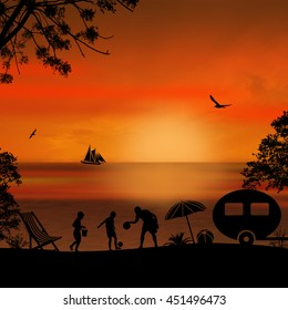 Family camping on beautiful campsite  on the beach at sunset, vector illustration