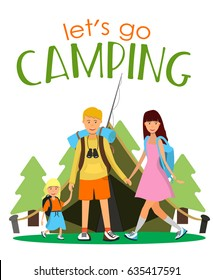 Family camping vector illustration. Father, mother and daughter with backpacks standing in front of tent and holding hands. Flat style design. - Shutterstock ID 635417591