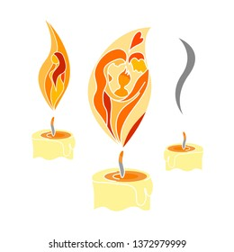 Abstraсted family in a candle flame. Symbol of family. Vector