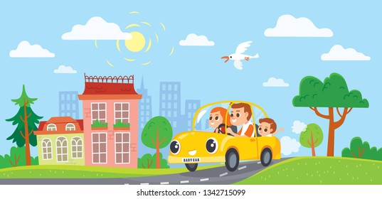 Family, in a car, goes on holiday weekend. City escape. Time to travel, concept. Dady rides car on journey.