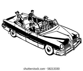 Family Car Ride - Retro Clip Art
