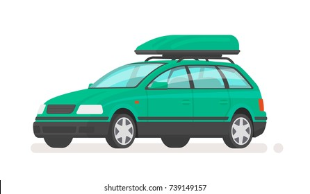 Family car station wagon with a roof rack. Vector illustration in a flat style