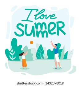 Family Card Written I Love Summer Cartoon Flat. Parents Spend Time with Children. Father Plays Ball with his Daughter on Beach. Summer School Holiday Season with Adult Vacations Vector Illustration.