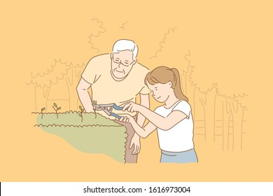 Family, care, gardening, teamwork concept. Old focused contented man watches young careful girl uses secateurs cut bushes in park. Family care about nature. Gardening is form of art simple flat vector