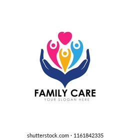 family care logo design template. child on the heart shape with hand care illustration