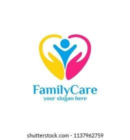 family care logo template. Love care logo template