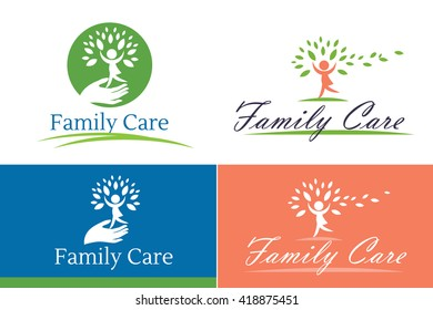 Family care logo vector design. Child Care and Medical Services. Child freedom and active lifestyle.