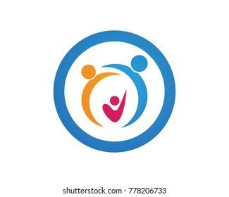 family care love logo and symbols. Health success people care logo and symbols template
