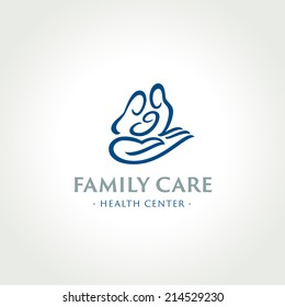 Family care medical health center symbol, icon,  logo template