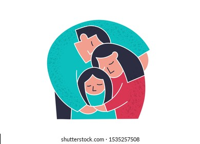 Family care. Mother and father hugs her little daughter. Flat cartoon trendy people cute protect family. Simple doodle trendy people life. Positive flat cartoon couple care family vector illustration.