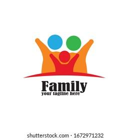 Family care protection symbol icon logo design template