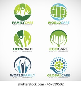 family care and world care logo vector set design