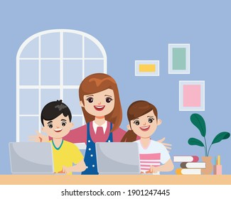 Family Caregivers keeping children learning while at home. Stay at home and work from home together.