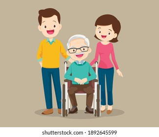 family cares for grandfather sitting on wheelchair, Smile Elderly on wheelchair and male and female healthy so Happy