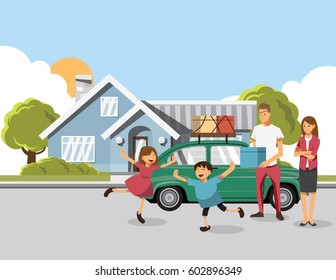 Family Carrying Boxes Into New Home On Moving Day. Vector illustration cartoon character.