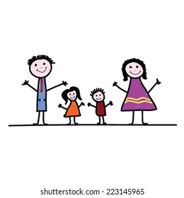 family cartoon color vector illustration on a white