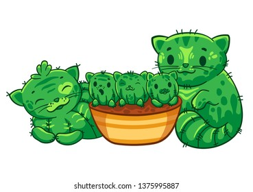 Family cat cacts with kittens. Vector cartoon illustration. It can be used for sticker, patch, phone case, poster, mug and other design