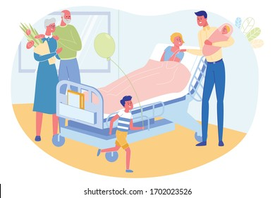 Family Celebrates Birth New Child, Illustration. Father Hold Wife's Hand and Sleeping Younger Daughter. In Ward Boy Run with Balloon, and Grandparents Hold Flowers Bouquet for Mother who Gave Birth.