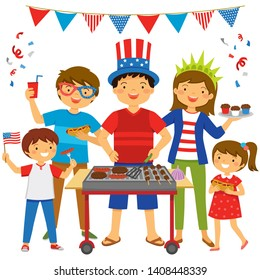 Family celebrating 4th of July in a BBQ with patriotic outfits.