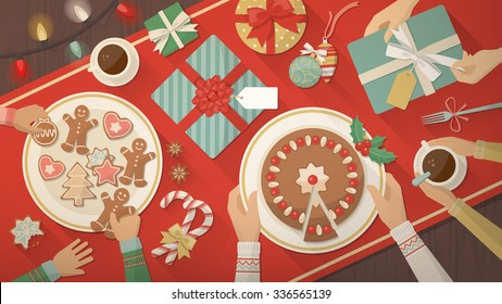 Family celebrating Christmas at home and eating together delicious sweets, cookies and desserts, top view