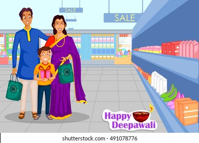 Family is celebrating Diwali festival of India with gifts in vector