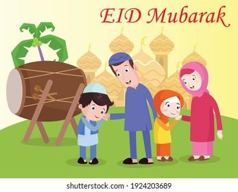 Family celebrating Eid al-fitr cartoon vector concept for banner, website, illustration, landing page, flyer, etc.