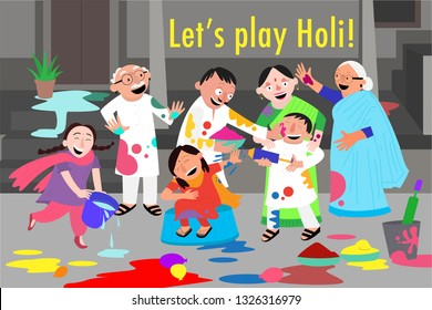 Family celebrating holi with colours & water