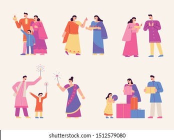 A family character set enjoying the Diwali festival in beautiful Indian traditional costumes.flat design style minimal vector illustration.