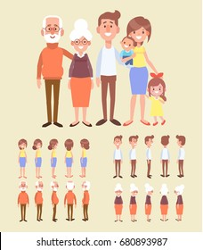 Family characters creation set - grandfather, grandmother, mom, dad, kids. Front, side, back view animated character. Cartoon style, flat vector illustration.