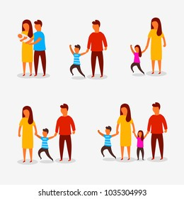 Family characters. Happy parents couple with children. Flat design. Vector illustration
