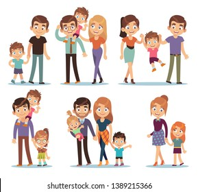Family characters. Happy traditional families people relationship mother father kids grandma grandpa pet colorful cartoon vector smilling couple set
