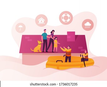 Family Characters Need Help at Flood. Man, Woman, Little Girl and Dog Stand House Roof, Rescues on Boat Evacuate People. Storm Consequences, Global Inundation Evacuation. Cartoon Vector Illustration