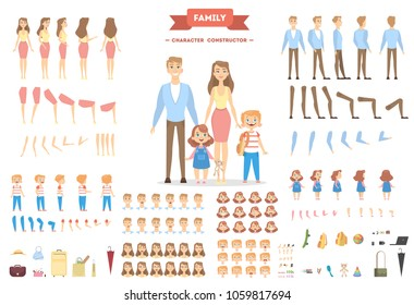 Family characters set. Parents and children with objects.