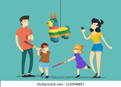 Family. Children hitting pinata. Vector illustration.