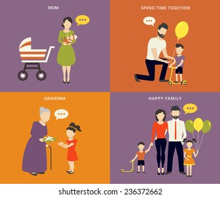 Family with children kids people concept flat icons set of parenting, dad time spending and being grandmother. Flat vectior mother with baby child, father with son and daughter. Parents with grand mom