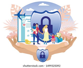 Family with Children on Background Insurance Policy and Wallet with Money. Vector Illustration. Reliable Protection. Insurance for Family. Life and Health on Vacation. Insurance Payment.