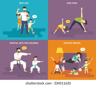Family with children people concept flat vector sport icon set of best dad, mom doing yoga with kid, dad with son doing martial arts exercise and family babysitter reading on sofa with playful kid