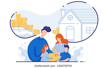 Family with Children Saves Money Buy House and Car. From Poverty to Wealth. Achive Goal. Vector Illustration. Earn Money. Financial Stability. Cash Savings. Save Money. Toss Coins in Piggy Bank.