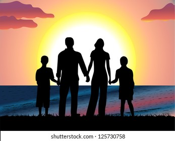 Family with children walk on a sunrise on sea. Vector