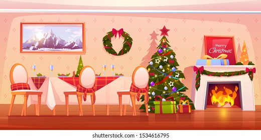 Family Christmas dinner, empty interior cartoon vector illustration. Living room with served festive table, decorated fir tree and fireplace with garland, gift box and burning fire. Holiday background
