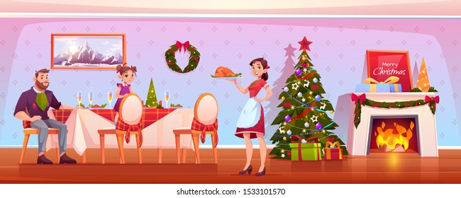 Family Christmas dinner, happy people celebrating holiday, father and daughter sitting at table mother carry tray with turkey in room with decorated fir tree and fireplace. Cartoon vector illustration