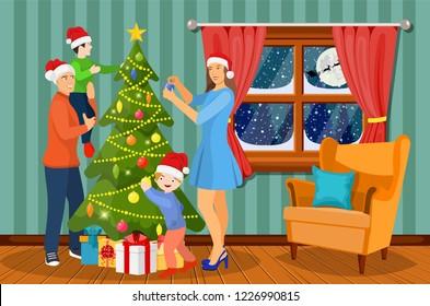 Christmas Festival Scene Drawing.Christmas Celebration Girl Stock Illustrations Images
