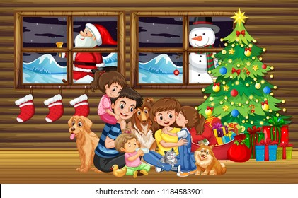 Family Christmas in living room with tree illustration