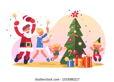 Family with christmas tree vector illustration. Happy parents and children dancing and having fun near decorated fir-tree flat style concept. Xmas and Happy New Year concept