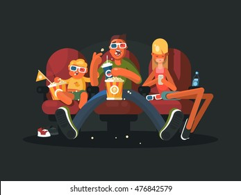 Family in the cinema watching movie