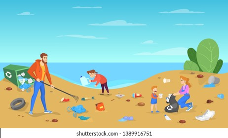 Family clean the beach. People put away garbage, trash and rubbish. Care about environment. Kids and parents volunteering. Vector illustration in cartoon style