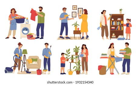 Family clean home. Woman wash clothes, child and parents cleaning house. Household help characters, housework routine swanky vector scenes