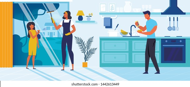 Family Cleaning up Home Flat Vector Illustration. Mother, Father and Daughter Cartoon Characters. Woman with Child Washing Window. Man Holding Sponge and Dishwashing Liquid. Domestic Chores