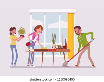 Family cleaning the house. People doing together regular light work of a household, housekeeping management of duties and chores. Vector flat style cartoon illustration isolated on white background